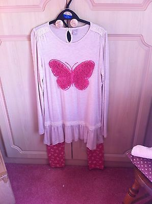 Girls Butterfly Top & leggings outfit Age 11 BNWOT