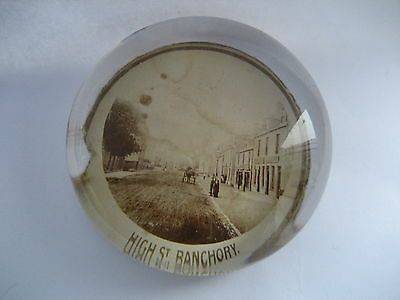Banchory High Street  Postcard Type View Vintage Paperweight