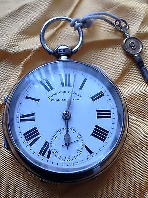 Antique Sterling Silver Pocket Watch & Key Chester 1902 Thomas Peter Hewitt