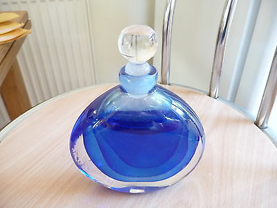 """Blue glass """"Veil"""" perfume bottle signed by David Wallace, Art Deco style"""