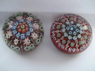 Pair Of  Scottish Millefiori   Paperweights , Late Vasart Or Early Strathearn
