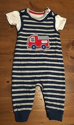 NEW George 3-6 months Blue Grey Stripe Fire Engine Baby Outfit