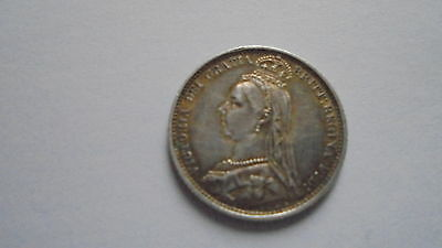 1887 Queen Victoria Jubilee Head Silver Sixpence Ef+ Withdrawn Type