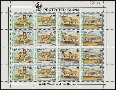Afghanistan WWF Urial Sheetlet of 4 sets MI#1819-22