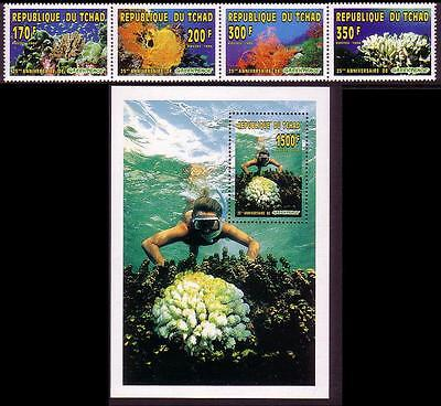 Chad Coral Reef Life 4v (strip)+MS MI#1365A-1368A+Block 260A