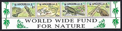 Anguilla WWF West Indian Iguana Strip of 4v with WWF text SG#1004/07 SC#968 a-d