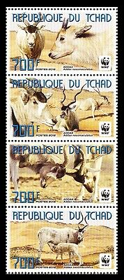 Chad WWF Addax vertical strip of 4v
