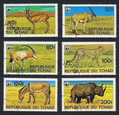 Chad WWF Endangered Animals 6v CTO SG#555/60 SC#367-72 MI#849B-854B