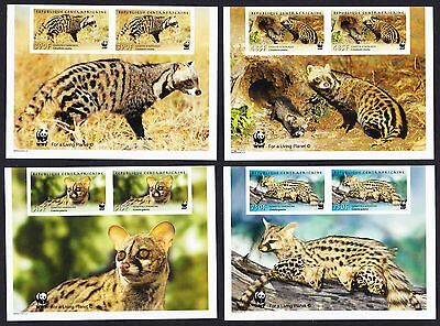 Central African Rep. WWF African Civet and Common Genet 4v imperf pairs with