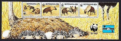 Botswana WWF Brown Hyena Strip of 4v with WWF Logo SG#809/12 SC#586 a-d