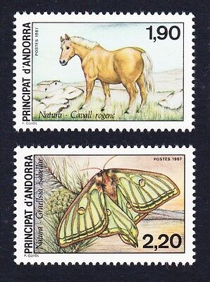 Andorra Fr. Horse Butterfly Nature Protection 2v SG#F393/94 SC#355-56 MI#382-83