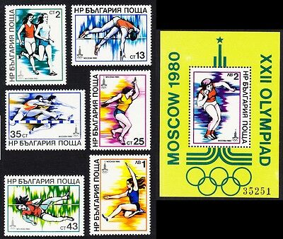 Bulgaria Summer Olympic Games Moscow Athletics 6v+MS SG#2744/MS2750