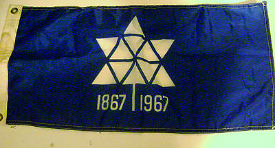 """Canadian Federation 100th Anniversary 1867-1967 Small Flag 22"""" x 11 1/2"""""""