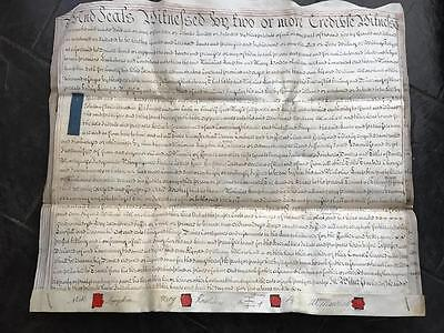 1753 Geo II Vellum Indenture Isle of Ely Cambridgeshire 3pg with 4 Wax Seals