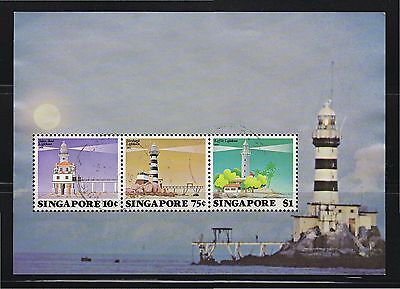 SINGAPORE 1982 LIGHHOUSES SOUVENIR SHEET OF 3 STAMPS SC#399a IN FINE USED