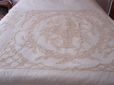 Antique French Filet Crochet Curtain Panel / Bedspread / Throw