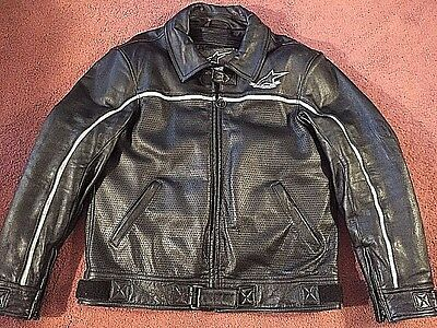 Alpinestars Black Leather Motorcycle Riding Perforated Jacket Men's Size XL 46