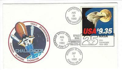 1983 USA Space Cover - Launched Aboard Challenger - Orbited Via STS-8 (s10)