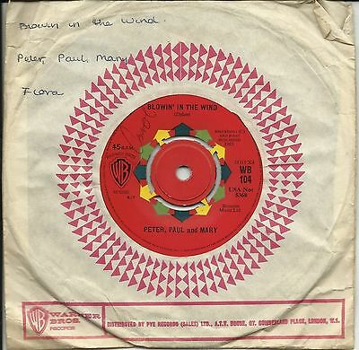 """PETER PAUL and MARY  BLOWIN' IN THE WIND  ORIGINAL UK 7"""" 45rpm SINGLE  VERY GOOD"""