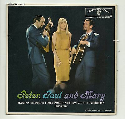 """Peter Paul And Mary  Peter Paul And Mary  Original Uk 7"""" Ep  Very Good+ Vinyl"""