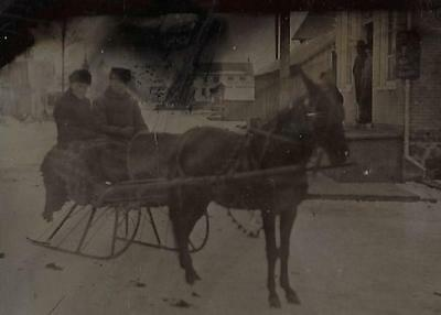 Tintype Photo #t68  2 Men On A Sleigh Pulled By A Horse - Snow - Lumber Yard