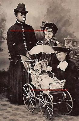 Tintype Photo #t22  African American - Black Nanny 2 Girls & 2 Dolls & Carriage