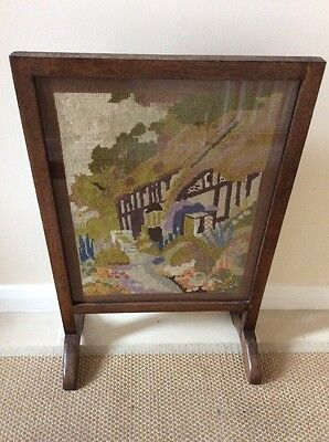 embroidered Wooden Fire Screen Guard