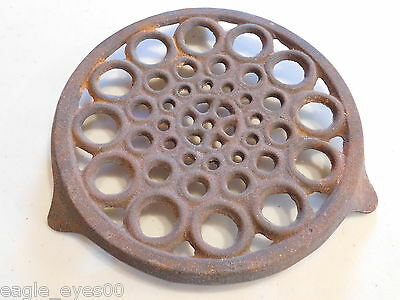 Antique Round Iron Trivet Tripod Feet Footed Early Victorian Wood Stove Unusual