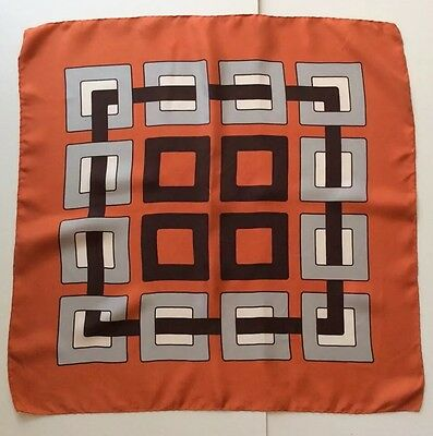 Vintage Silk Scarf Orange Brown Grey White Geometric Design