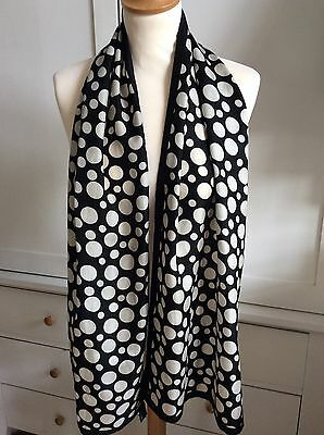 Vintage Silk Scarf John Lewis Black Cream Spots Rolled Edges
