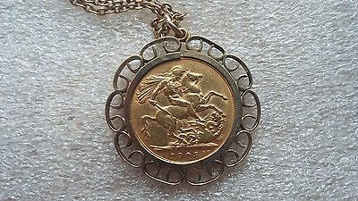 """1908 Edward VII Gold Full Sovereign with 9ct Mount and 24"""" Chain"""