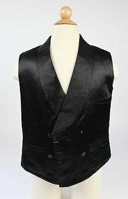 Man's Black Silk Satin Vest, American, c. 1840