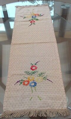 Vintage Cream Cotton Lawn And Hand Embroidered Floral Table Runner