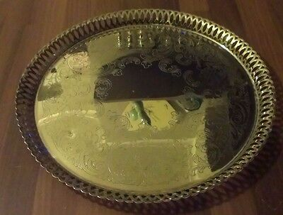 """A Vintage Silver Plated Round Tray, Engraved, 12.5"""""""