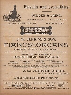 1889 Ad Bicycles and Cyclealities J. W. Jenkins & Son Pianos & Organs Piso's