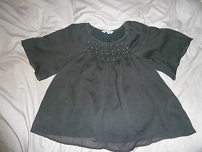 Girls New Look black chiffon blouse age 13 with embellishments