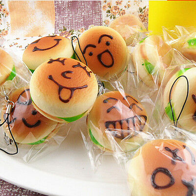 11cm Jumbo Squishy Expression Hamburger Phone Straps Soft Face Bread Bun Charms