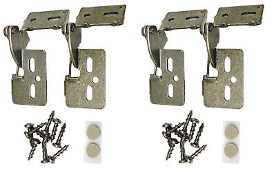"""4 Self Closing Concealed Cabinet Hinge 1/2"""" Overlay Antique Brass Youngdale #65"""