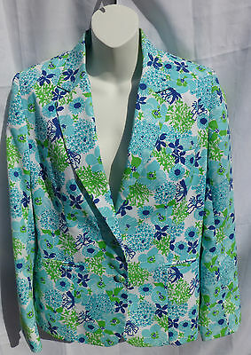 Rare Blue Green & White Floral The Lilly Pulitzer Vintage Womens Jacket Blazer