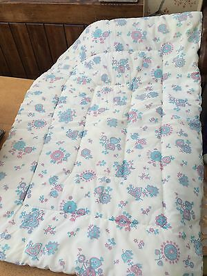 VINTAGE BABY BED QUILT 1960's Cot/Cotbed KITSCH RETRO Simplantex Eastbourne