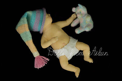 """OOAK Hand Sculpted Mini Baby Girl Doll """"Aggie"""" by Dolls from Aileen"""