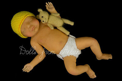 "OOAK Hand Sculpted Mini Baby Boy Doll ""Mateo"" by Dolls from Aileen"