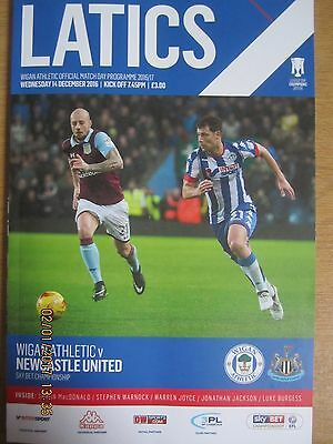 WIGAN ATHLETIC v NEWCASTLE UNITED    Championship   14.12.16  (Prog & Teamsheet)
