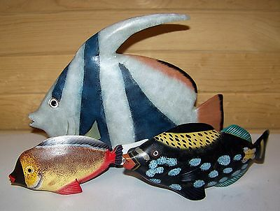 3 Trio Carved Wood Hand Painted  Tropical Fish Figurines