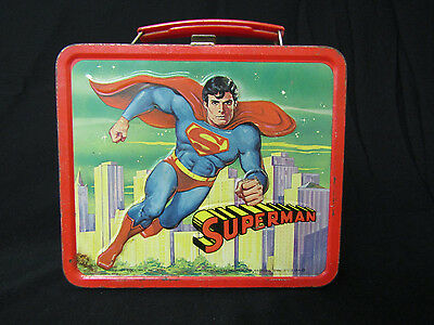 Superman Metal Lunch Box W/aladdin Thermos Copyright Dc Comics 1978(#4352)
