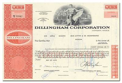 Dillingham Corporation Stock Certificate (Hawaii)