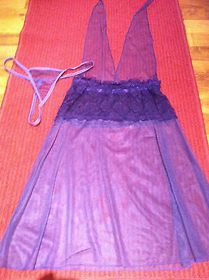 Ladies Babydoll & G.String Set in Purple. Size S. 10-12