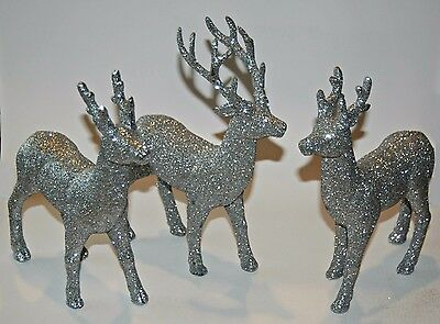 Christmas Glittered Silver Gold Standing Deer Reindeer Decoration 3 pc Set NEW