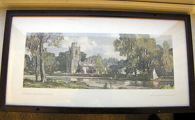 Original Railway Carriage Print of Hemingford Grey in Huntingdonshire.
