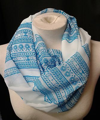 INFINITY SCARF HANDMADE IN UK blue and white patterned soft chiffon LADIES GIFT